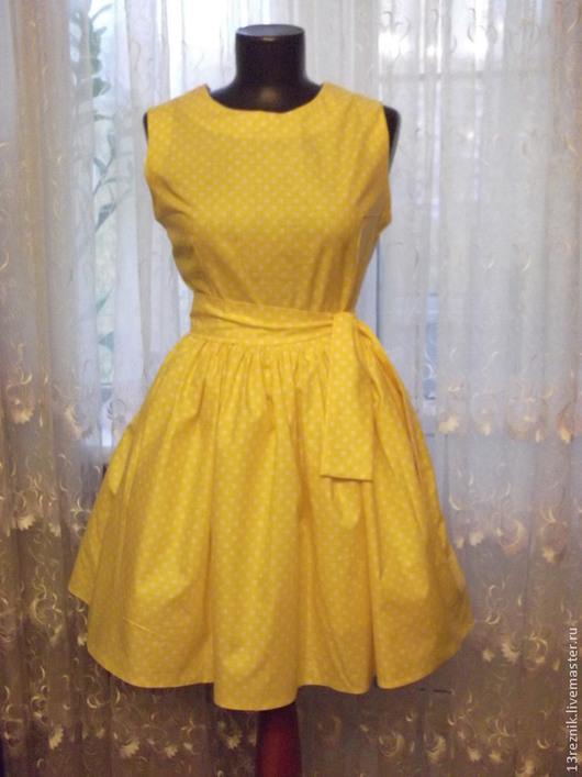 Платья ручной работы. Ярмарка Мастеров - ручная работа. Купить Платье на лето в стиле 60-х. Handmade. Желтый
