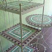 Для дома и интерьера handmade. Livemaster - original item Wrought iron shelves and a little table with a mosaic of