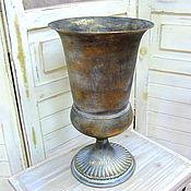 Вазон  высокий ваза металл с патиной