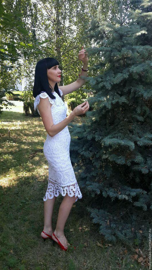 Платья ручной работы. Ярмарка Мастеров - ручная работа. Купить Вязаное платье-сарафан Брюггские кружева. Handmade. Платье-сарафан