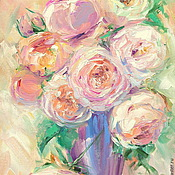 Картины и панно handmade. Livemaster - original item Oil painting on canvas. Lush roses. Handmade.