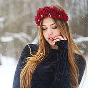 """Украшения ручной работы. Ярмарка Мастеров - ручная работа Повязка-ободок на голову с бордовыми розами """"Vine"""". Handmade."""