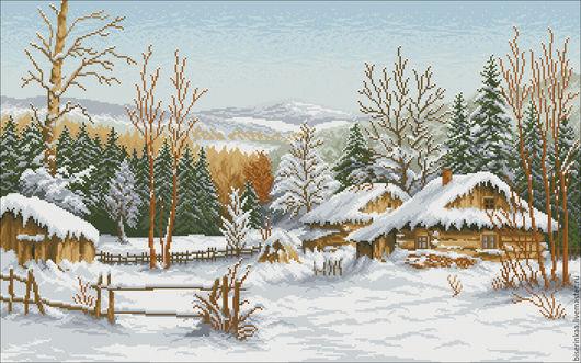 Схема под вышивку чешским бисером `Зимний домик`