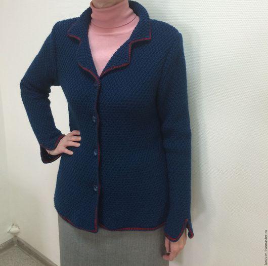 Пиджаки, жакеты ручной работы. Ярмарка Мастеров - ручная работа. Купить Кардиган (цвет джинс). Handmade. Тёмно-синий, жакет
