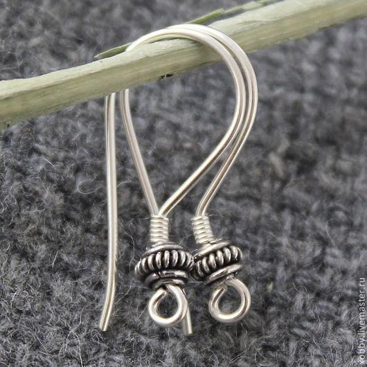 Швензы Серебро 925 проба с чернением для сборки сережек  Швензы в форме крючков со спейсером, без замка.  Швензы имеют разъемное колечко для крепления подвески