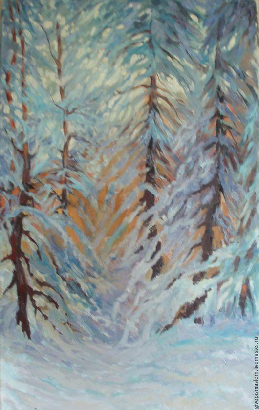 """Пейзаж ручной работы. Ярмарка Мастеров - ручная работа. Купить """"Зимее кружево"""". Handmade. Голубой, утро, картина на холсте"""
