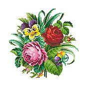 Схемы для вышивки ручной работы. Ярмарка Мастеров - ручная работа Схема для вышивки: Букет с розами и фиалками. Handmade.