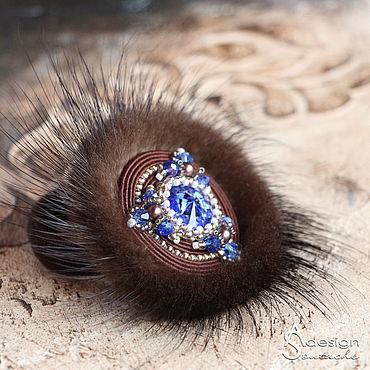 Украшения ручной работы. Ярмарка Мастеров - ручная работа Резинка для волос из меха норки Emily. Коричневый синий. Handmade.
