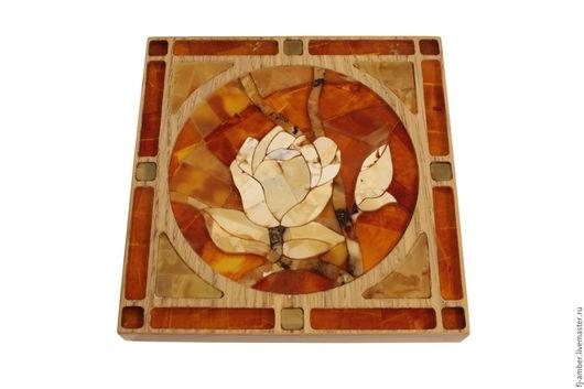 """Картины цветов ручной работы. Ярмарка Мастеров - ручная работа. Купить Мозаика из натурального янтаря """"Цветок"""". Handmade. Комбинированный, цветок"""