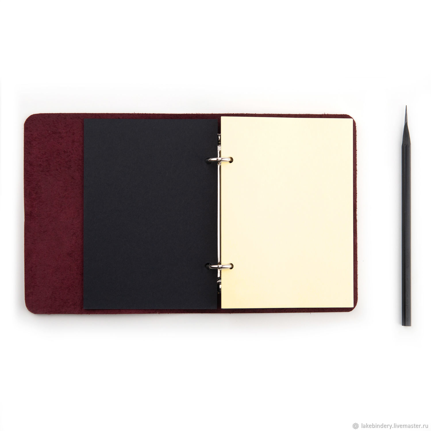 Leather notebook with rings compact A6 Notepad made of genuine leather, Notebooks, Moscow,  Фото №1