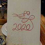 """Год Крысы 2020 ручной работы. Ярмарка Мастеров - ручная работа Год Крысы: """"Открытка символ года"""". Handmade."""