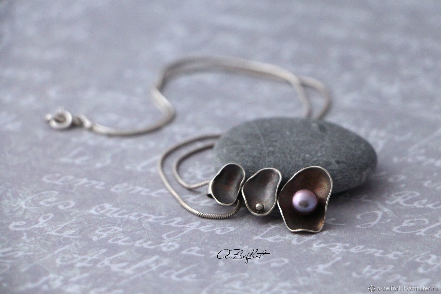the pendant is made of Nickel silver and natural pearls 'circles on the water', Pendants, Omsk, Фото №1