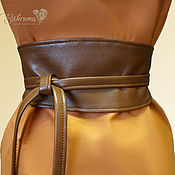 Пояса ручной работы. Ярмарка Мастеров - ручная работа Пояс Оби кушак коричневый кожаный узкий широкий пояс на платье. Handmade.