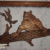 """Картины и панно ручной работы. Ярмарка Мастеров - ручная работа Деревянное  панно на стену """"Медведь"""" Резьба по дереву. Handmade."""