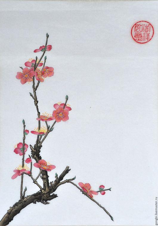 Картины цветов ручной работы. Ярмарка Мастеров - ручная работа. Купить Картина цветущая слива в стиле китайской живописи гунби. Handmade.