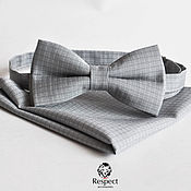 Аксессуары ручной работы. Ярмарка Мастеров - ручная работа Серая бабочка галстук + нагрудный платок / Комплект Кардинал. Handmade.