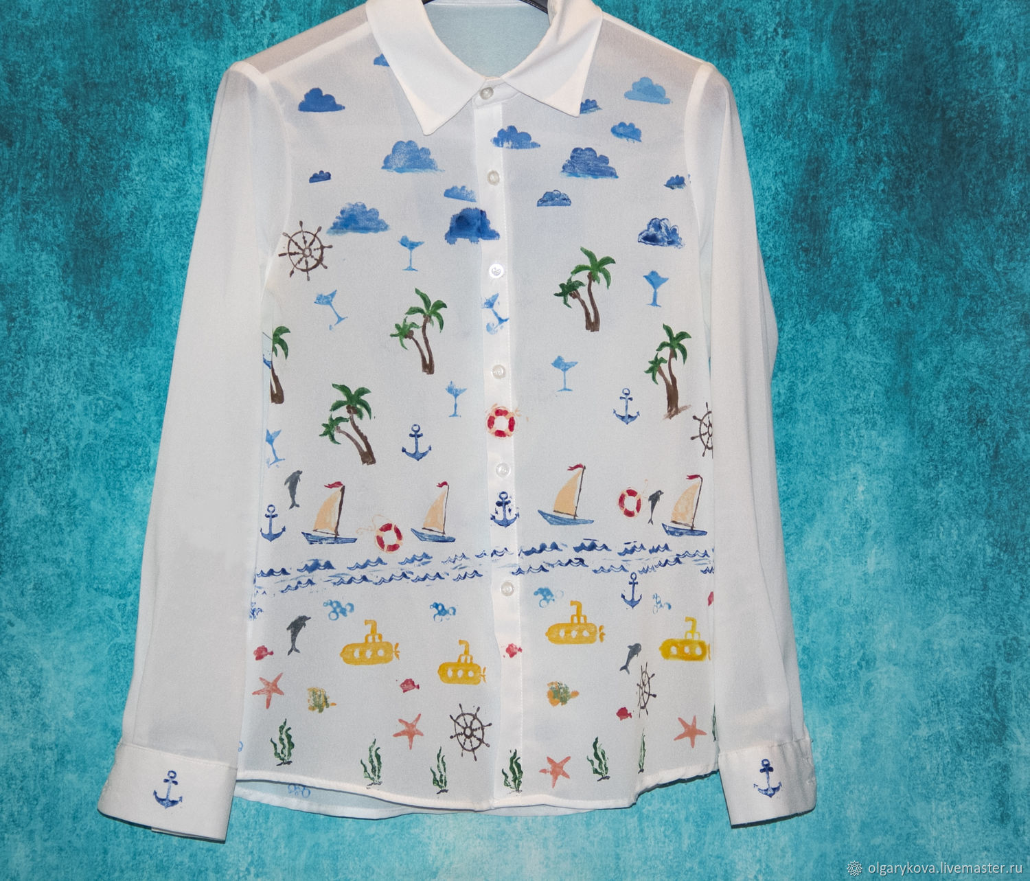 Blouse sea palm trees sky hand painted, Blouses, St. Petersburg,  Фото №1