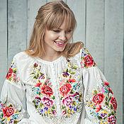 """Одежда ручной работы. Ярмарка Мастеров - ручная работа Вышиванка вышитая блузка """"Розы в белом"""" вышивка гладью. Handmade."""