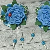 Работы для детей, handmade. Livemaster - original item Blue clip-rose. Handmade.