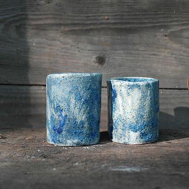 Посуда ручной работы. Ярмарка Мастеров - ручная работа Стопки синие. Handmade.