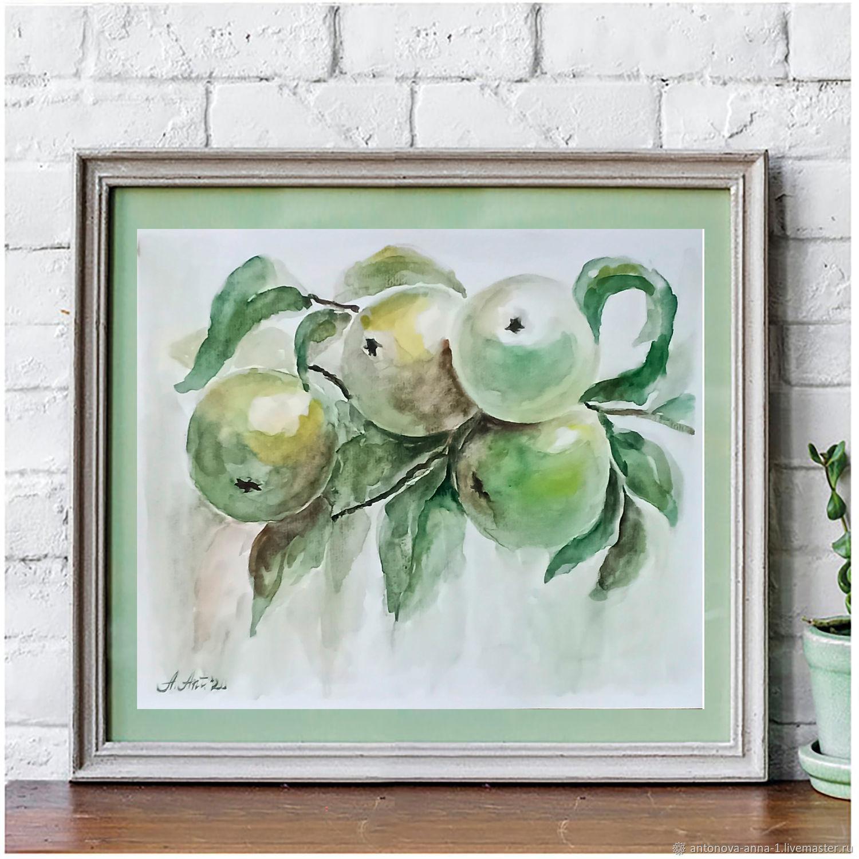 Акварель Ветка с яблоками Яблоня Картина акварельная ...