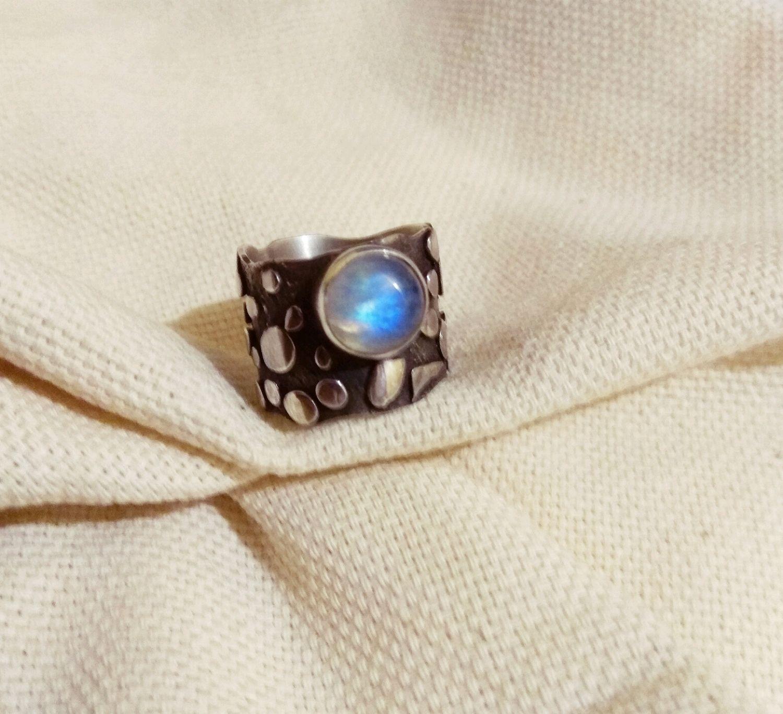 Серебряное авторское кольцо с лунным камнем, Кольца, Санкт-Петербург,  Фото №1