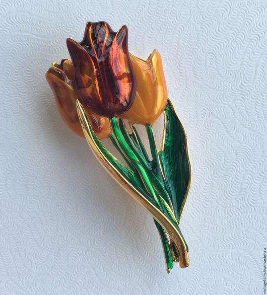 Винтажные украшения. Ярмарка Мастеров - ручная работа. Купить Винтажная брошь MFA Тюльпаны. Handmade. Винтаж, украшение, брошь mfa