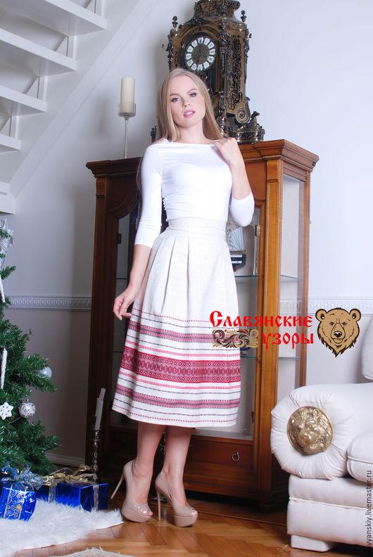 """Юбки ручной работы. Ярмарка Мастеров - ручная работа. Купить Юбка """"Аленушка"""". Handmade. Орнамент, юбка короткая, юбка белая"""
