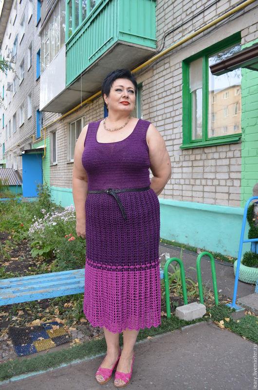 """Платья ручной работы. Ярмарка Мастеров - ручная работа. Купить платье""""Ежевика"""". Handmade. Тёмно-фиолетовый, большие размеры, летняя одежда"""