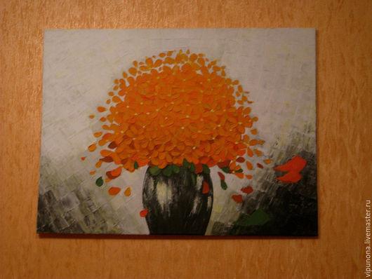 Картины цветов ручной работы. Ярмарка Мастеров - ручная работа. Купить Оранжевое настроение. Handmade. Оранжевый, картина для интерьера
