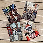 Открытки ручной работы. Ярмарка Мастеров - ручная работа Набор открыток с собаками. 4 штуки. Handmade.