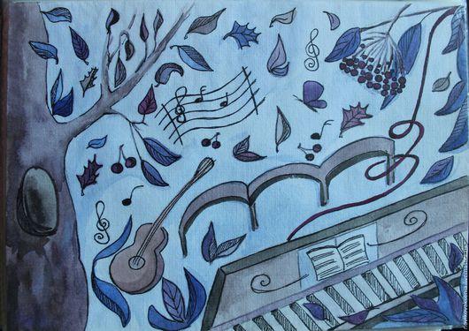 Фантазийные сюжеты ручной работы. Ярмарка Мастеров - ручная работа. Купить Реальна только музыка. Handmade. Тёмно-синий, музыка ветра