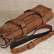 Сумки и аксессуары handmade. Livemaster - original item CASE: Double chef`s leather twist for 7 cognac-colored knives. Handmade.