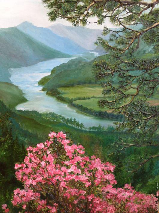 """Пейзаж ручной работы. Ярмарка Мастеров - ручная работа. Купить """"В горах Алтая"""". Handmade. Зеленый, картина в подарок"""