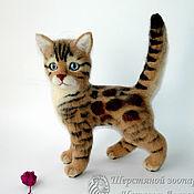 Куклы и игрушки handmade. Livemaster - original item Kitten Bengal / felted toy made of wool / Bengal cat cat. Handmade.