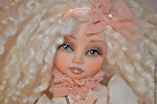 Коллекционные куклы ручной работы. Ярмарка Мастеров - ручная работа. Купить Кудряшка!. Handmade. Кремовый, каркасная кукла, шёлк натуральный