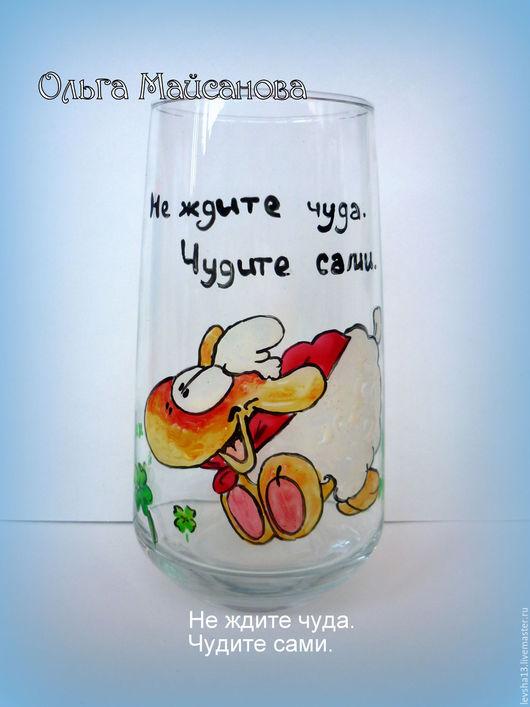 Бокалы, стаканы ручной работы. Ярмарка Мастеров - ручная работа. Купить Набор стаканов Овечки. Handmade. Белый, Овечки