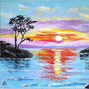Картины ручной работы. Ярмарка Мастеров - ручная работа Картина маслом море Розовый закат яркая закат на море скалы отражение. Handmade.