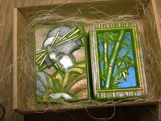 Подарочные наборы косметики ручной работы. Ярмарка Мастеров - ручная работа. Купить ЯПОНИЯ ( гейша, бамбук) - подарочный набор сувенирного мыла.. Handmade.