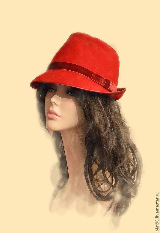 """Шляпы ручной работы. Ярмарка Мастеров - ручная работа. Купить Федора """" Red"""". Handmade. Ярко-красный, алый"""