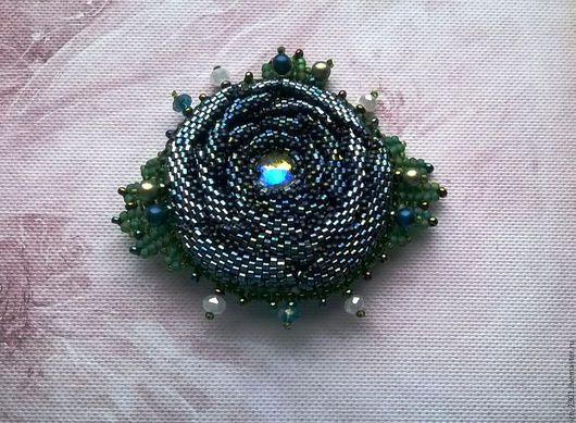 """Броши ручной работы. Ярмарка Мастеров - ручная работа. Купить Брошь """"Каменный цветок"""". Handmade. Синий, каменный цветок"""
