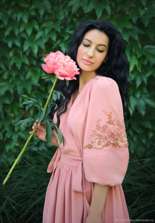 Elegant dress with hand embroidery ' Pink peony', Dresses, Vinnitsa,  Фото №1