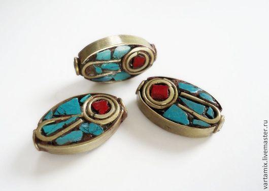 Для украшений ручной работы. Ярмарка Мастеров - ручная работа. Купить Бусина тибетская овальная. Handmade. Бусины, непал, разноцветный