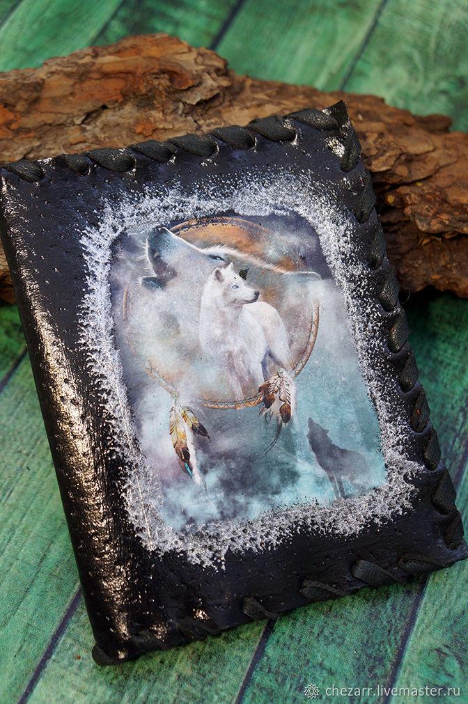 """Кожаная обложка на паспорт """"Белый волк"""", Обложка на паспорт, Челябинск,  Фото №1"""