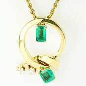 Украшения handmade. Livemaster - original item 1.06tcw Colombian Emerald & Diamond Circular Pendant 18k, Gold Necklac. Handmade.