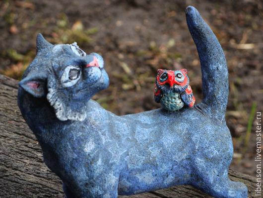 Статуэтки ручной работы. Ярмарка Мастеров - ручная работа. Купить Кот и совёнок. Handmade. Голубой, звезды