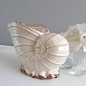 Материалы для творчества ручной работы. Ярмарка Мастеров - ручная работа Ваза кашпо ракушка керамика. Handmade.