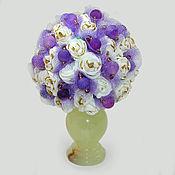 """Цветы и флористика ручной работы. Ярмарка Мастеров - ручная работа Цветы из агата """"Нежность"""" в вазочке из оникса. Handmade."""