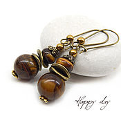 Украшения handmade. Livemaster - original item Earrings with tiger eye. Earrings. Earrings for women. Tiger eye. Handmade.