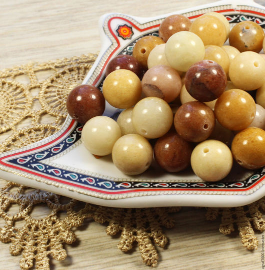 Для украшений ручной работы. Ярмарка Мастеров - ручная работа. Купить Мукаит бусины 10 мм шар. Handmade. Желтый